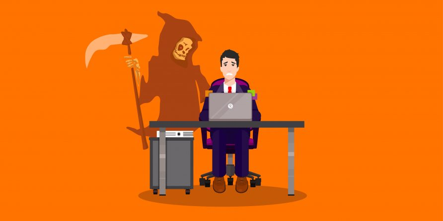 grim reaper stood over a man at desk
