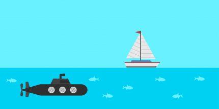 ship and submarine