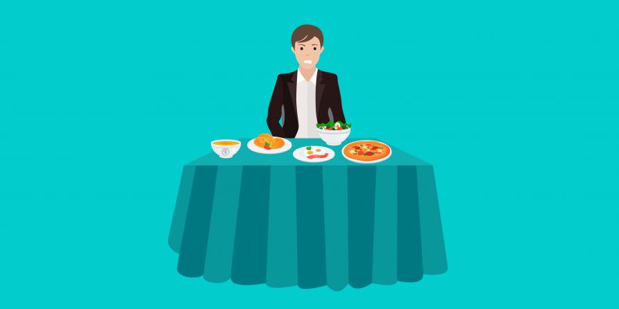man sat table image